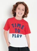 Camiseta Infantil Bicolor com Recorte e Estampa