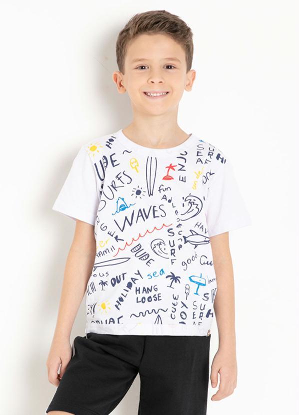 Camiseta Infantil (Branca) com Estampa Frontal