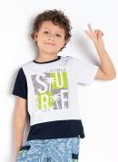 Camiseta Infantil Branco/Marinho com Estampa