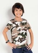 Camiseta Infantil Camuflada Manga Curta