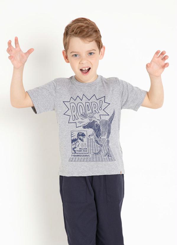 Camiseta Infantil (Cinza) com Estampa Frontal