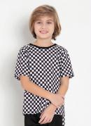 Camiseta Infantil Xadrez Preto com Mangas Curtas
