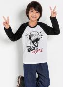 Camiseta Infantil Preta e Branca Mangas Raglan