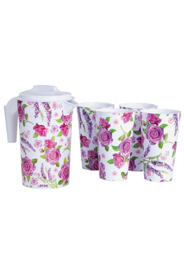 Kit Jarra com Copos Floral Média