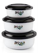 Kit 3 Potes Redondos com Tampa Branco