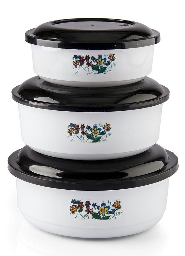 Kit 3 Potes Redondos com Tampa (Branco)